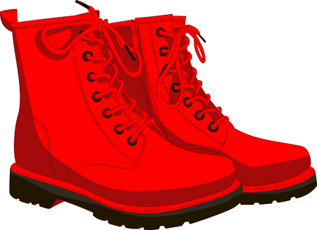 Boots red isolated on white. Vector illustration