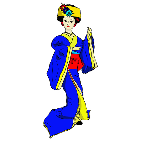 Geisha doll in blue kimono Vector illustration Ilustração