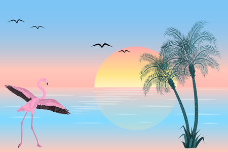 Flamingo at sunset on lake scene. Vector illustration