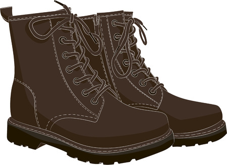 Boots brown isolated on white. Vector illustration Vetores