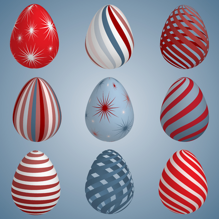 Set of colourful Easter eggs. Vector illustration