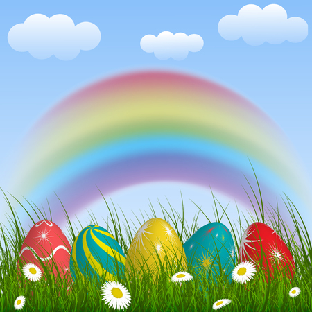 Illustration of a rainbow with green grass and colorful eggs. Ilustração