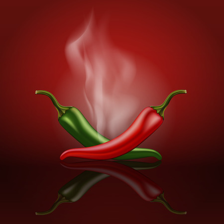 Red and green hot chili pepper with smoke. Vector illustration