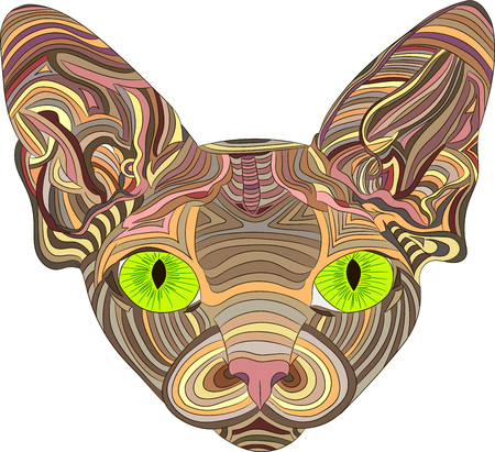 The stylized head of a Sphynx cat is an ethnic pattern. Vector illustration