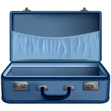 Open suitcase blue isolated on white background. Vector illustration