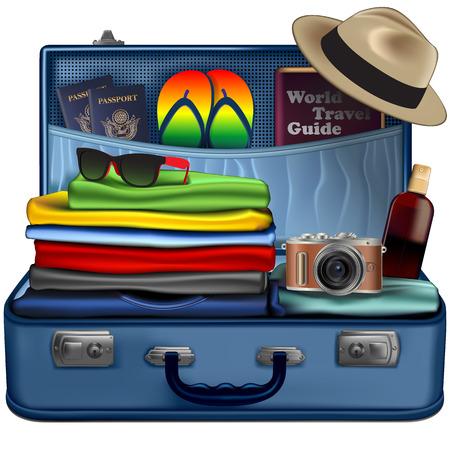 Ensemble de choses nécessaires pour un voyage de vacances. Illustration vectorielle