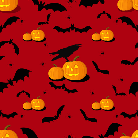 Seamless pattern of Halloween background. Vector illustration Ilustração