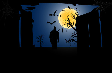 Death with a scythe in front of an open gate against a full moon background. Vector illustration Ilustração