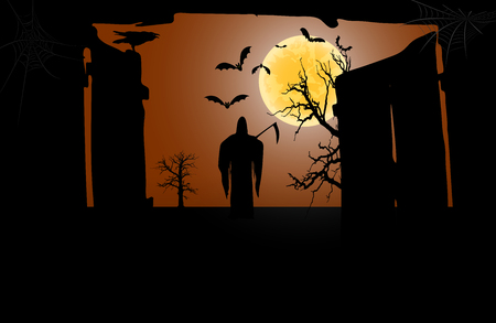 Death with a scythe in front of an open gate against a full moon background. Vector illustration Illustration