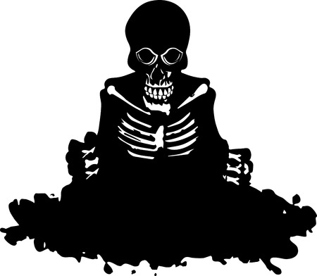 Skeleton get out of the grave. Black silhouette. Vector illustration Ilustração