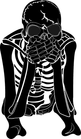 The skeleton covers the mouth with hands. Vector illustration