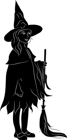 Silhouette of a witch with a broomstick. Vector illustration