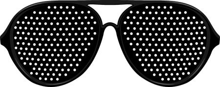 Black Pinhole glasses. Vector illustration