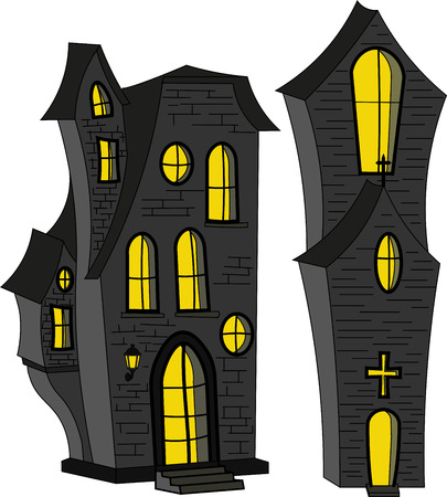 House in the style of Halloween. Vector illustration