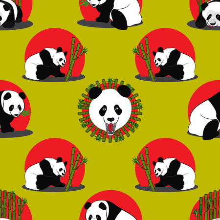 Seamless pattern of Panda bear. Vector illustration Ilustração