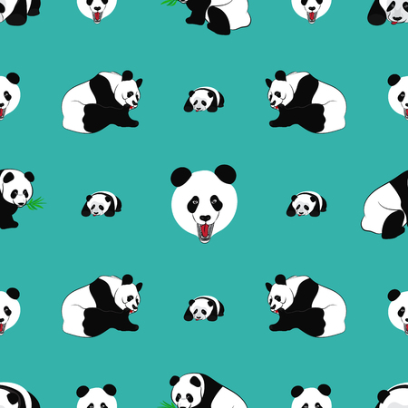 Seamless pattern of Panda bear. Vector illustration Illustration