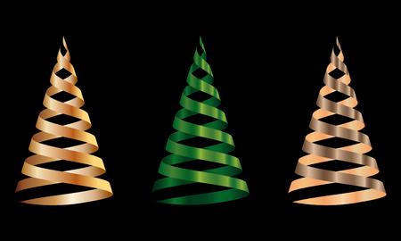 Christmas tree from ribbon. Vector illustration
