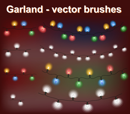 Christmas lights - Garland. Vector brushes Banco de Imagens - 121485531