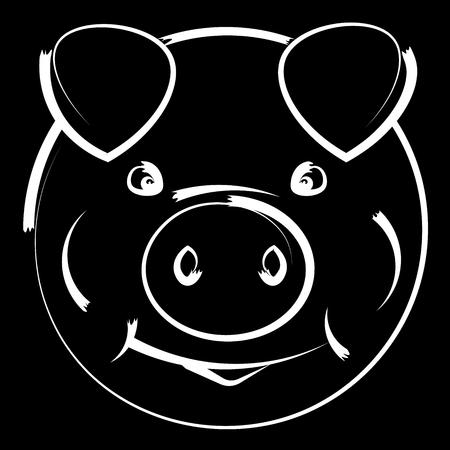 Pig head symbol of the New Year. Vector illustration Ilustração