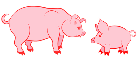 Mother pig and pink piggy - symbols of 2019. Vector illustration Banco de Imagens - 121485533
