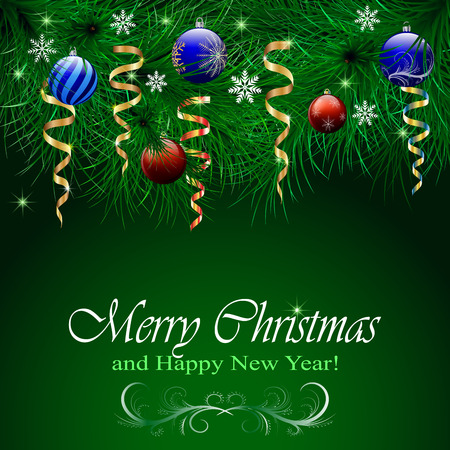 Christmas and happy New Year card of realistic-looking branches of a Christmas tree decorated with balls, stars and serpentine and snowflakes. Vector illustration. Banco de Imagens - 121485534