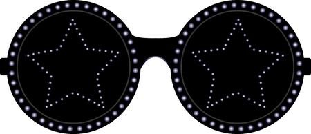 Black stars sunglasses. Vector illustration