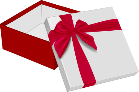 Open gift box with red bow. Vector illustration Banco de Imagens - 123758132