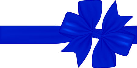 Blue gift ribbon and bow isolated on white background. Vector illustration Banco de Imagens - 123758136
