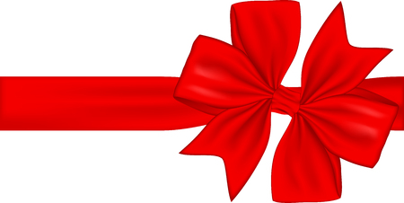 Red gift ribbon and bow isolated on white background. Vector illustration Banco de Imagens - 123758139