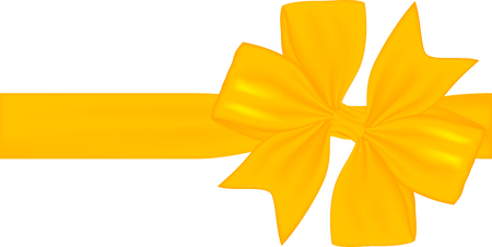 Yellow gift ribbon and bow isolated on white background. Vector illustration