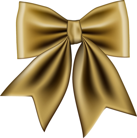 Gold gift bow isolated on white background. Vector illustration Banco de Imagens - 123757988