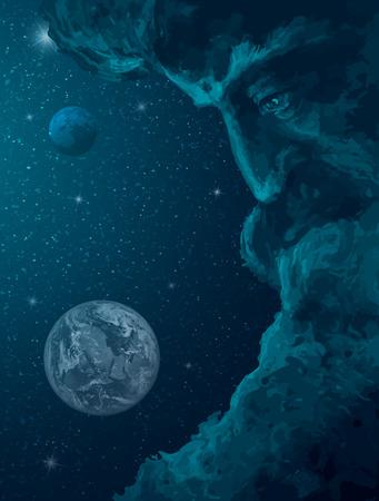 God is watching the universe. Vector illustration Vektoros illusztráció