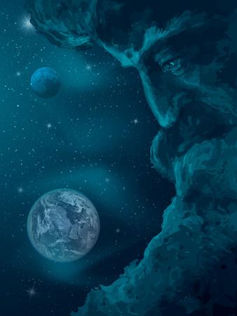 God is watching the universe. Vector illustration Banco de Imagens - 123757997