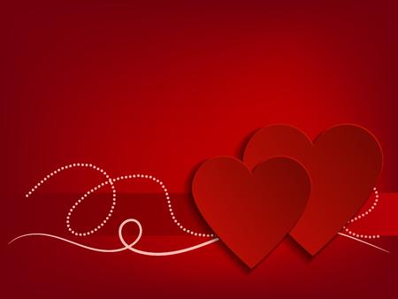 Valentine Day Heart on Red Background. Vector illustration Banco de Imagens - 123758000