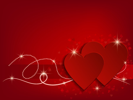 Valentine Day Heart on Red Background. Vector illustration Foto de archivo - 123758001