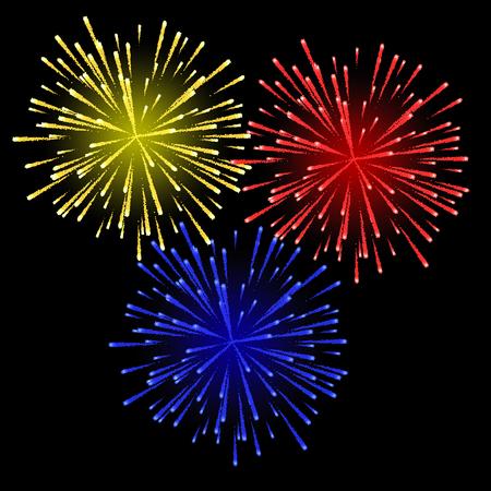 Feux d'artifice multicolores festifs. Illustration vectorielle
