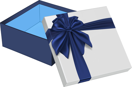 Open gift box with blue bow. Vector illustration Banco de Imagens - 123758003