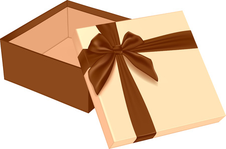 Open gift box with bow. Vector illustration Banco de Imagens - 123758005