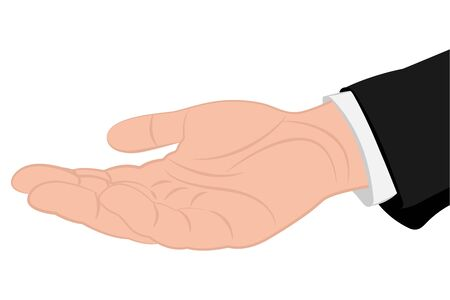 Outstretched hand palm up. Vector illustration