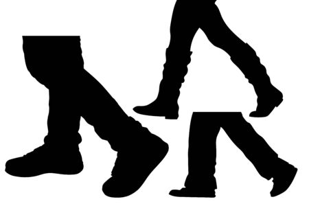 Silhouettes of the feet of walking people. Vector illustration