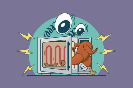 Fried chicken escapes from the microwave, the oven looks at the chicken with bulging eyes. Funny cartoon vector illustration Stock Illustratie