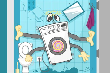 The washing machine vibrates violently, rattles and rumbles, grabs its hands on the walls and toilet bowl to stay in place. Funny cartoon vector illustration.