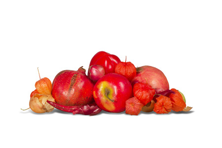pommegranate: Group of various red and orange fruits