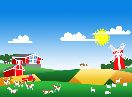 cows red barn: Cartoon illustration of farmland with buildings and flock