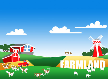 cows red barn: Cartoon illustration of a farmland, flock, buildings and text