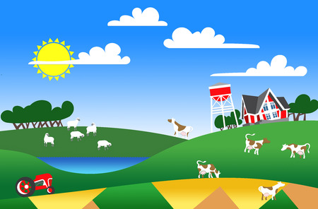 patchwork landscape: Cartoon illustration of a farm with flock and buildings