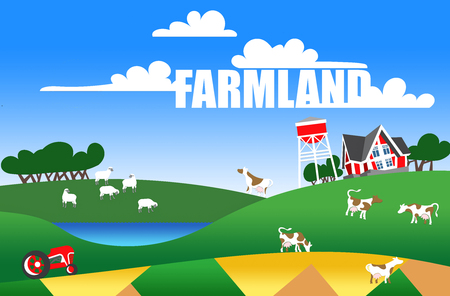 patchwork landscape: Cartoon illustration of a farm landscape with flock, buildings and text
