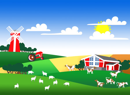 patchwork landscape: Cartoon illustration of a farm landscape with flock and buildings Stock Photo