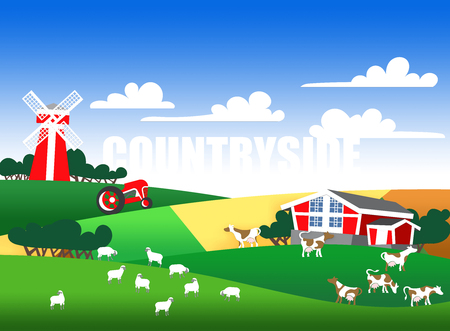 cows red barn: Cartoon illustration of a farm landscape with flock, buildings and text