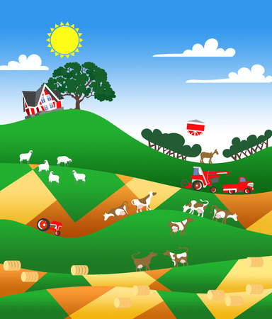 patchwork landscape: Cartoon illustration of a farm landscape with buildings and flock Stock Photo